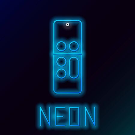 Blue glowing neon line Remote control icon isolated on black background. Colorful outline concept. Vector Illustration