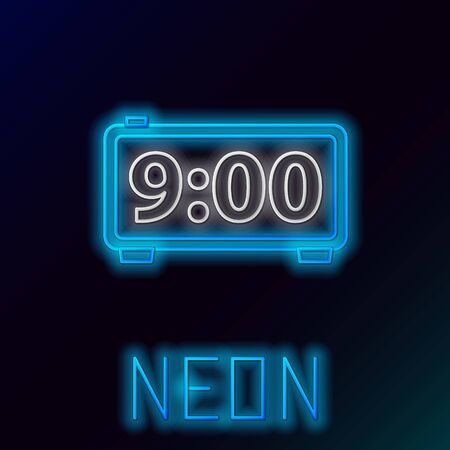Blue glowing neon line Digital alarm clock icon isolated on black background. Electronic watch alarm clock. Time icon. Colorful outline concept. Vector Illustration
