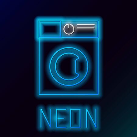 Blue glowing neon line Washer icon isolated on black background. Washing machine icon. Clothes washer - laundry machine. Home appliance symbol. Colorful outline concept. Vector Illustration