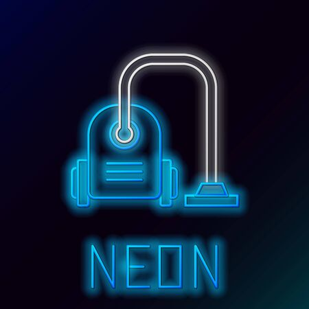 Blue glowing neon line Vacuum cleaner icon isolated on black background. Colorful outline concept. Vector Illustration 일러스트