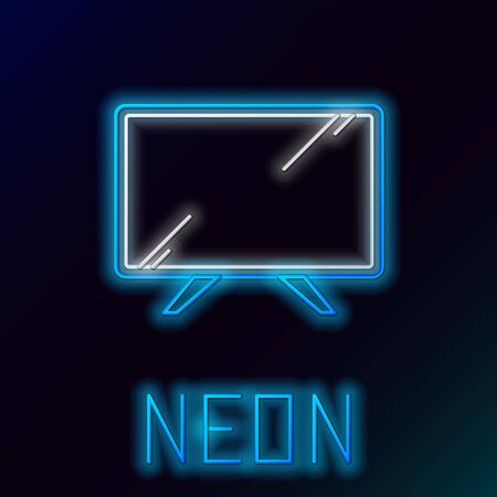 Blue glowing neon line Smart Tv icon isolated on black background. Television sign. Colorful outline concept. Vector Illustration