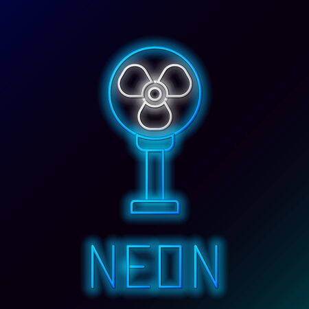 Blue glowing neon line Electric fan icon isolated on black background. Colorful outline concept. Vector Illustration 스톡 콘텐츠 - 133558794