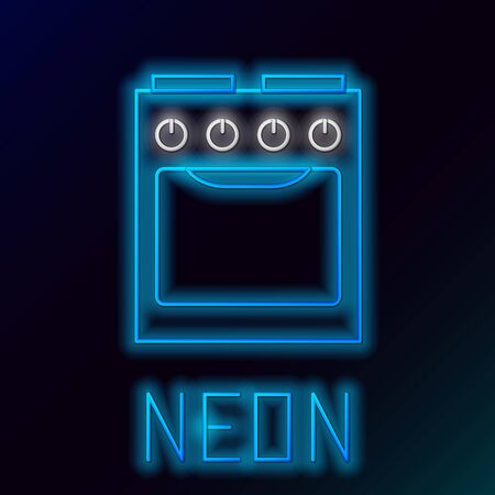 Blue glowing neon line Oven icon isolated on black background. Stove gas oven sign. Colorful outline concept. Vector Illustration
