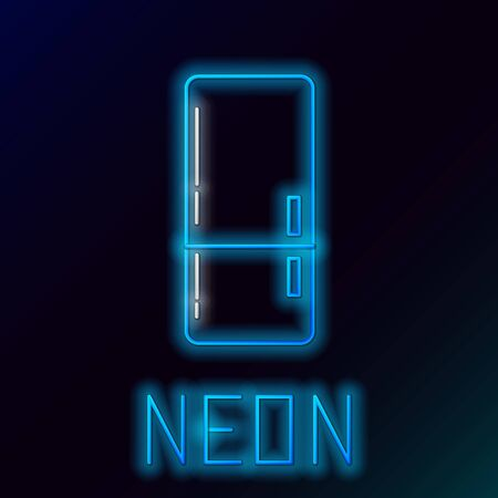 Blue glowing neon line Refrigerator icon isolated on black background. Fridge freezer refrigerator. Household tech and appliances. Colorful outline concept. Vector Illustration 일러스트