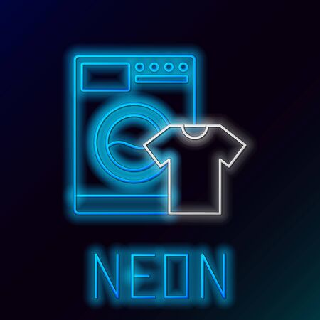 Blue glowing neon line Washer and t-shirt icon on black background. Washing machine icon. Clothes washer, laundry machine. Home appliance symbol. Colorful outline concept. Vector Illustration