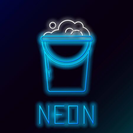 Blue glowing neon line Bucket with foam and bubbles icon on black background. Cleaning service concept. Colorful outline concept. Vector Illustration Illusztráció