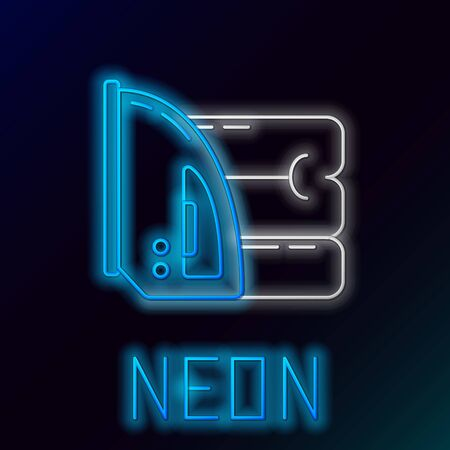 Blue glowing neon line Electric iron and towel icon on black background. Steam iron. Colorful outline concept. Vector Illustration