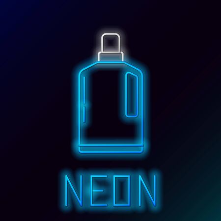 Blue glowing neon line Plastic bottle for liquid laundry detergent, bleach, dishwashing liquid or another cleaning agent icon on black background. Colorful outline concept. Vector Illustration Çizim