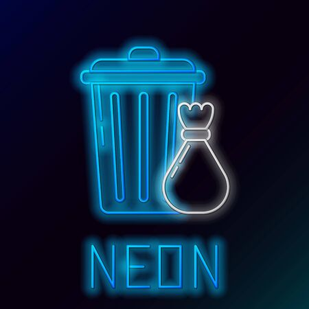 Blue glowing neon line Trash can and garbage bag icon on black background. Garbage bin sign. Recycle basket icon. Office trash icon. Colorful outline concept. Vector Illustration