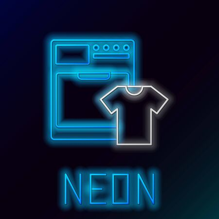 Blue glowing neon line Washer and t-shirt icon on black background. Washing machine icon. Clothes washer - laundry machine. Home appliance symbol. Colorful outline concept. Vector Illustration 일러스트