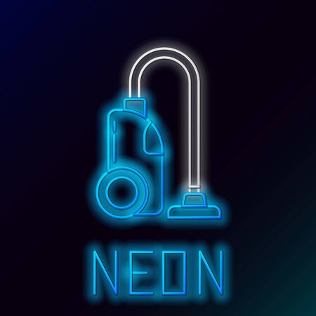 Blue glowing neon line Vacuum cleaner icon on black background. Colorful outline concept. Vector Illustration 일러스트