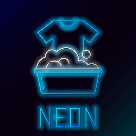 Blue glowing neon line Plastic basin with soap suds icon on black background. Bowl with water. Washing clothes, cleaning equipment. Colorful outline concept. Vector Illustration