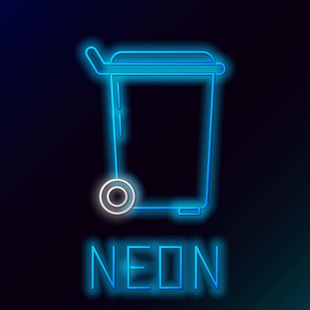 Blue glowing neon line Trash can icon on black background. Garbage bin sign. Recycle basket icon. Office trash icon. Colorful outline concept. Vector Illustration