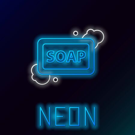 Blue glowing neon line Bar of soap with foam icon on black background. Soap bar with bubbles. Colorful outline concept. Vector Illustration