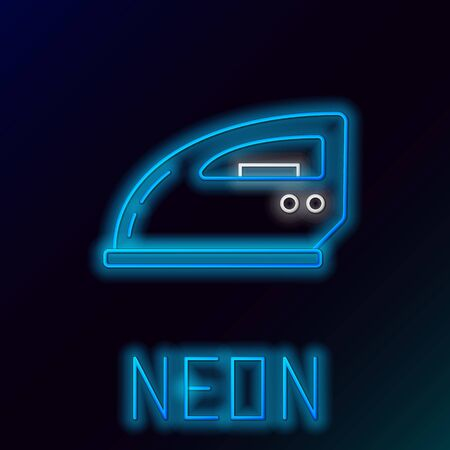 Blue glowing neon line Electric iron icon on black background. Steam iron. Colorful outline concept. Vector Illustration