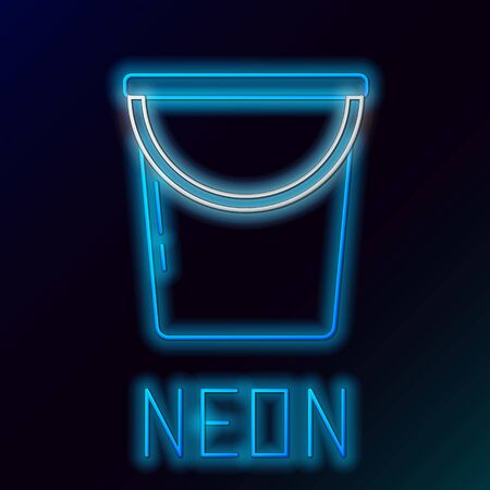 Blue glowing neon line Bucket icon on black background. Colorful outline concept. Vector Illustration Illusztráció