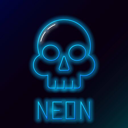 Blue glowing neon line Skull icon isolated on black background. Happy Halloween party. Colorful outline concept. Vector Illustration