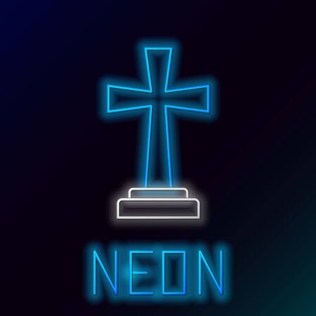 Blue glowing neon line Tombstone with cross icon isolated on black background. Grave icon. Colorful outline concept. Vector Illustration  イラスト・ベクター素材