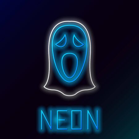 Blue glowing neon line Funny and scary ghost mask for Halloween icon isolated on black background. Happy Halloween party. Colorful outline concept. Vector Illustration
