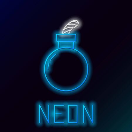 Blue glowing neon line Bomb ready to explode icon isolated on black background. Happy Halloween party. Colorful outline concept. Vector Illustration Ilustração