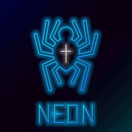 Blue glowing neon line Spider icon isolated on black background. Happy Halloween party. Colorful outline concept. Vector Illustration