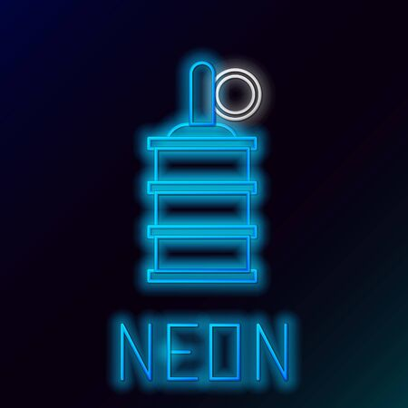 Blue glowing neon line Hand grenade icon isolated on black background. Bomb explosion. Colorful outline concept. Vector Illustration