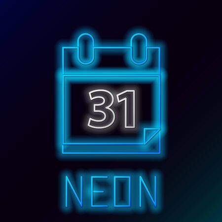 Blue glowing neon line Calendar with Halloween date 31 october icon isolated on black background. Happy Halloween party. Colorful outline concept. Vector Illustration
