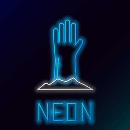 Blue glowing neon line Zombie hand icon isolated on black background. Arm monster dead. Happy Halloween party. Colorful outline concept. Vector Illustration