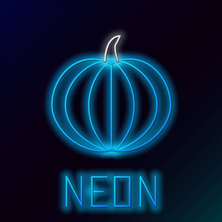 Blue glowing neon line Pumpkin icon isolated on black background. Happy Halloween party. Colorful outline concept. Vector Illustration