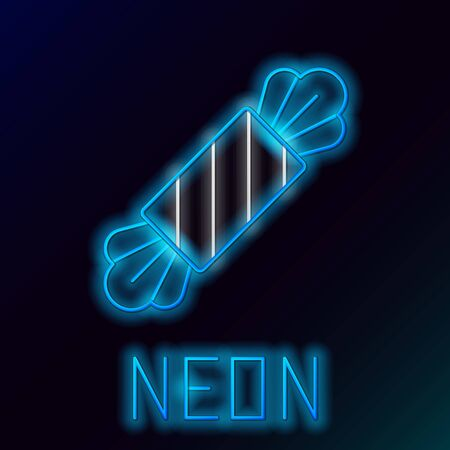 Blue glowing neon line Candy icon isolated on black background. Happy Halloween party. Colorful outline concept. Vector Illustration Ilustração