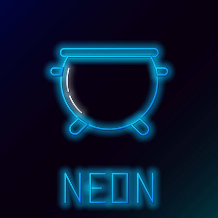Blue glowing neon line Halloween witch cauldron icon isolated on black background. Happy Halloween party. Colorful outline concept. Vector Illustration