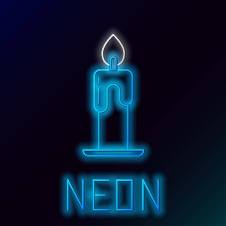 Blue glowing neon line Burning candle icon isolated on black background. Cylindrical aromatic candle stick with burning flame. Happy Halloween party. Colorful outline concept. Vector Illustration Ilustracja