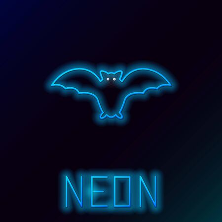 Blue glowing neon line Flying bat icon isolated on black background. Colorful outline concept. Vector Illustration
