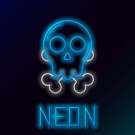 Blue glowing neon line Skull on crossbones icon isolated on black background. Happy Halloween party. Colorful outline concept. Vector Illustration