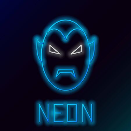 Blue glowing neon line Vampire icon isolated on black background. Happy Halloween party. Colorful outline concept. Vector Illustration
