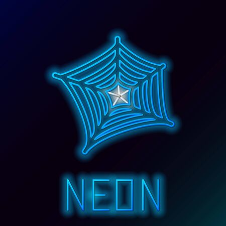 Blue glowing neon line Spider web icon isolated on black background. Cobweb sign. Happy Halloween party. Colorful outline concept. Vector Illustration Ilustração
