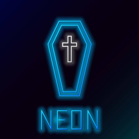 Blue glowing neon line Coffin with christian cross icon isolated on black background. Happy Halloween party. Colorful outline concept. Vector Illustration Ilustração