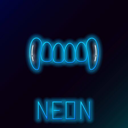 Blue glowing neon line Vampire teeth icon isolated on black background. Happy Halloween party. Colorful outline concept. Vector Illustration