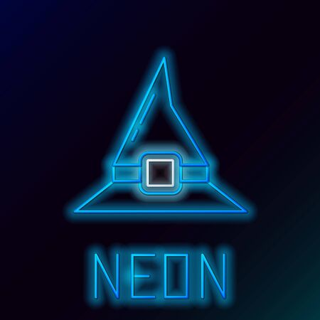 Blue glowing neon line Witch hat icon isolated on black background. Happy Halloween party. Colorful outline concept. Vector Illustration