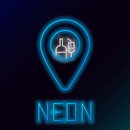 Blue glowing neon line Alcohol or beer bar location icon isolated on black background. Symbol of drinking, pub, club, bar. Colorful outline concept. Vector Illustration