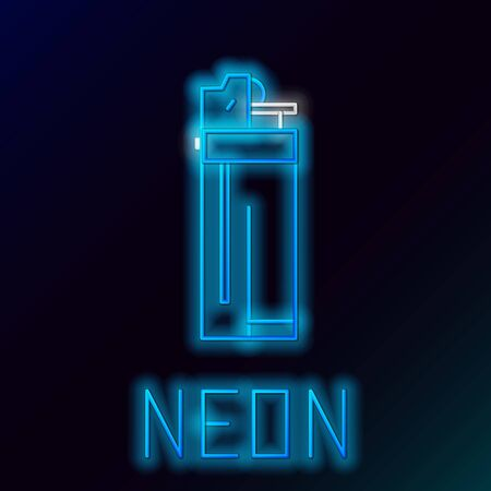 Blue glowing neon line Lighter icon isolated on black background. Colorful outline concept. Vector Illustration