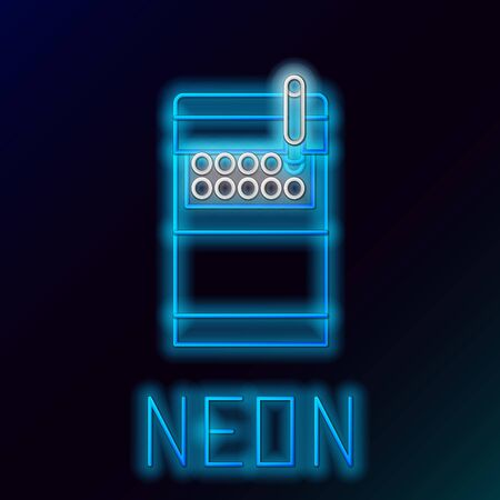 Blue glowing neon line Open cigarettes pack box icon isolated on black background. Cigarettes pack. Colorful outline concept. Vector Illustration