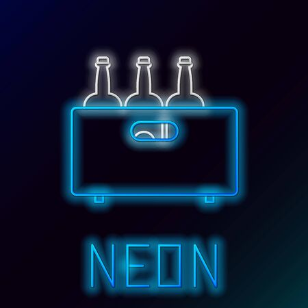 Blue glowing neon line Bottles of wine in a wooden box icon isolated on black background. Wine bottles in a wooden crate icon. Colorful outline concept. Vector Illustration