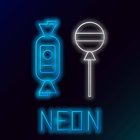 Blue glowing neon line Lollipop icon isolated on black background. Candy sign. Food, delicious symbol. Colorful outline concept. Vector Illustration