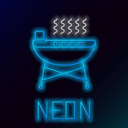 Blue glowing neon line Barbecue grill icon isolated on black background. BBQ grill party. Colorful outline concept. Vector Illustration