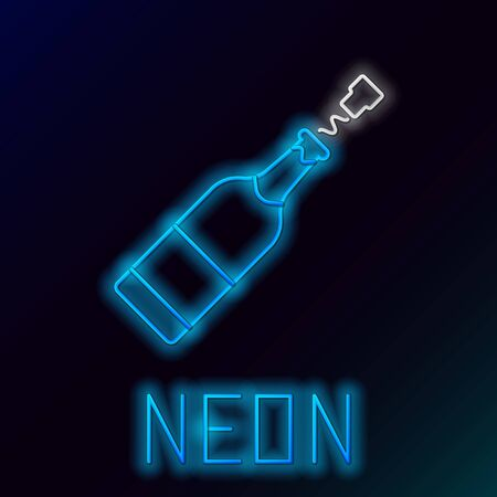 Blue glowing neon line Champagne bottle icon isolated on black background. Colorful outline concept. Vector Illustration Çizim
