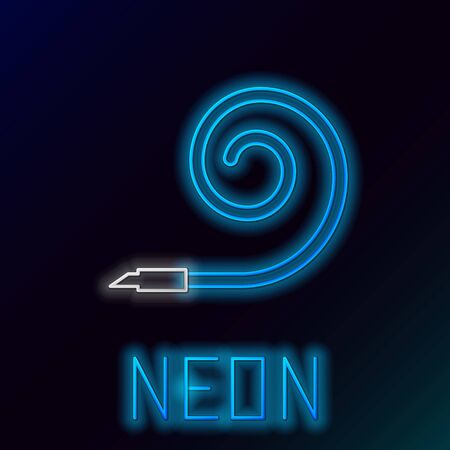 Blue glowing neon line Birthday party horn icon isolated on black background. Colorful outline concept. Vector Illustration Ilustração
