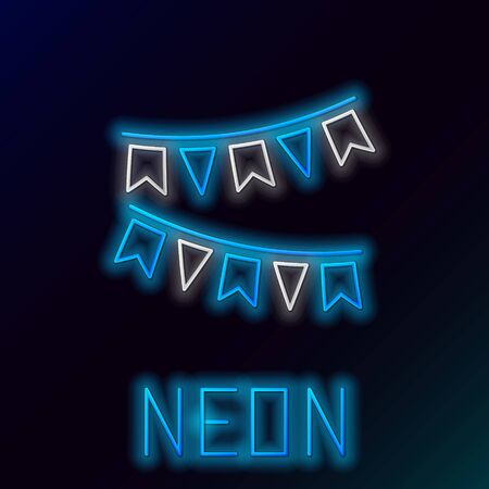 Blue glowing neon line Carnival garland with flags icon on black background. Party pennants for birthday celebration, festival and fair decoration. Colorful outline concept. Vector Illustration Ilustração