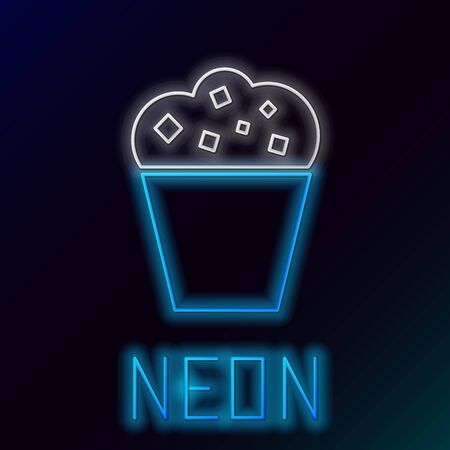 Blue glowing neon line Popcorn in cardboard box icon isolated on black background. Popcorn bucket box. Colorful outline concept. Vector Illustration