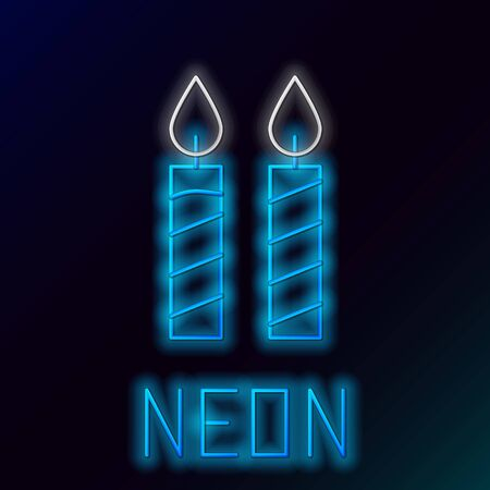 Blue glowing neon line Birthday cake candles icon isolated on black background. Colorful outline concept. Vector Illustration